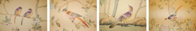 Pájaros papel pintado a mano diseño Pinto Coelho