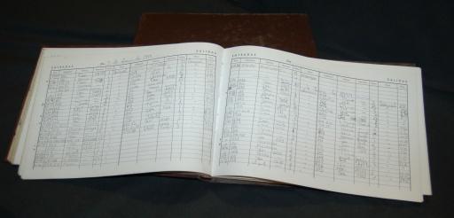 Libro antiguo de recepción del Hotel Wellington